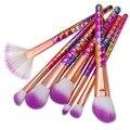 De'lanci 7 pcs pincéis de maquiagem set fantasia fã fundação sombra em pó kits de gradiente de cor de maquiagem jogo de escova