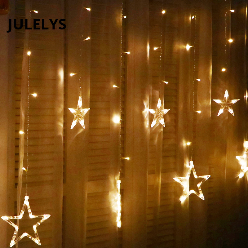 JULELYS 2M 138 Bulbs LED Star Curtain Lights Christmas Garland Festoon LED Lights Decoration For Wedding Holiday Party Bedroom ...