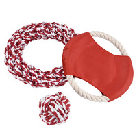 Dog Toy Ball Chew Tooth Cleaning Cotton Rope With Handle Knot Pet Cotton Rope Pet Frisbee