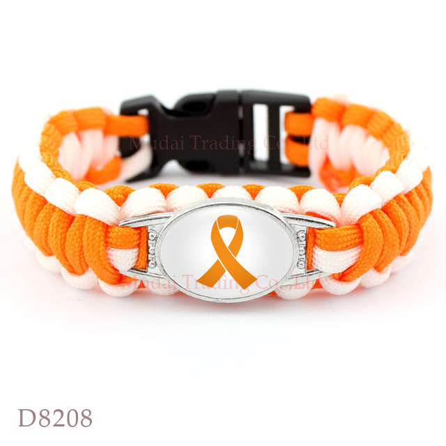 Us 20 0 10 Pcs Lot Orange Awareness Ribbon Paracord Survival Bracelet Leukemia Multiple Sclerosis Kidney Skin Cancer Lupus Ms In Cuff Bracelets