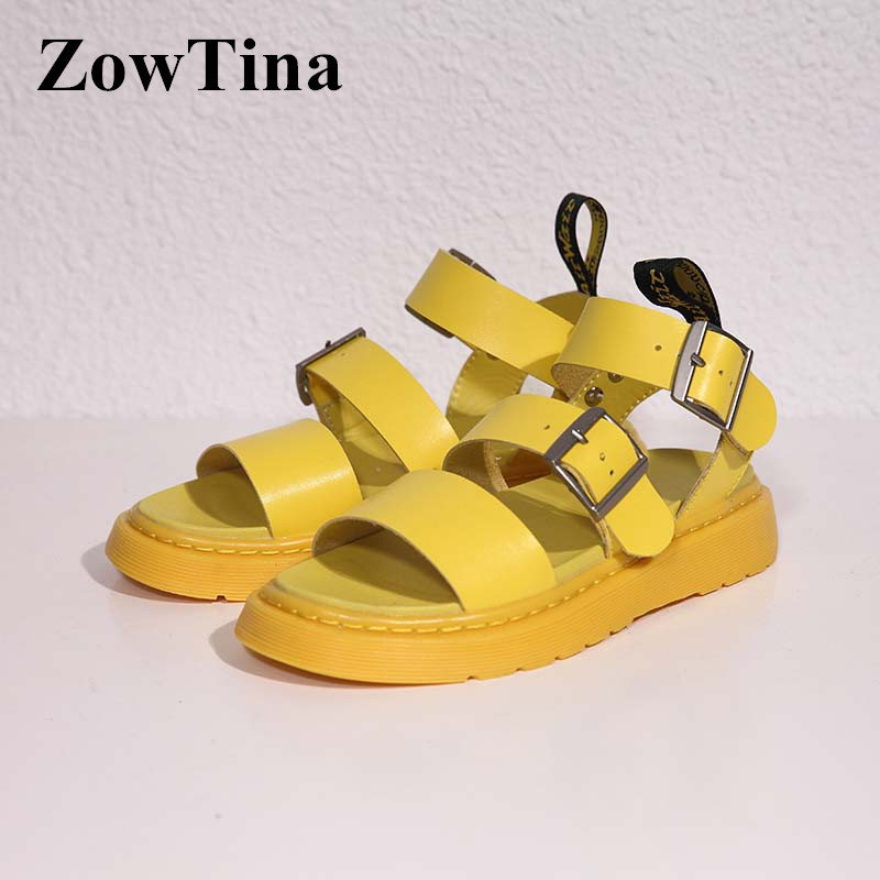 2019 New Yellow Leather Women Casual Flats Sandals Gladiator Thick Heel Beach Sandalias Blue Espadrilles Red