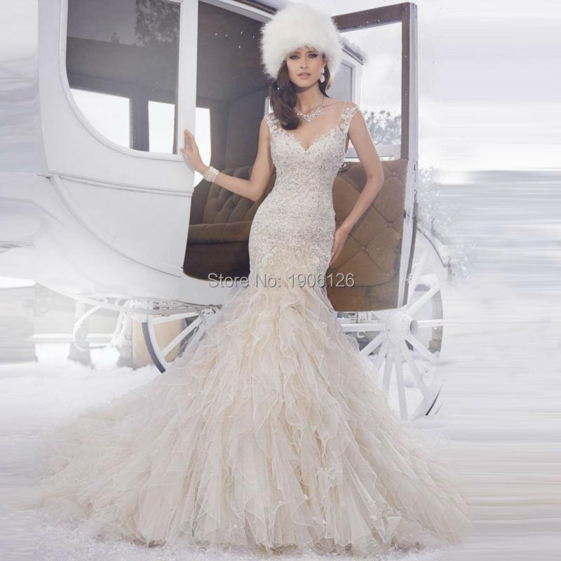 famous bridal gown designers civil wedding dress lace organza ruffles court train open back vestido de
