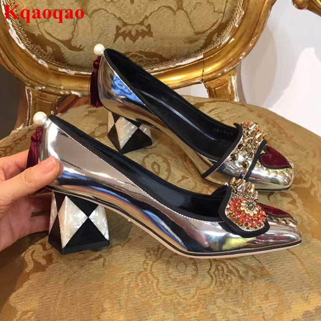 Patent Leather Women Pumps High Heels Square Toe Crystal Embellished Rivets Shoes  Chic Lady Party Runway Funky Sapato Feminino f381138cc80d