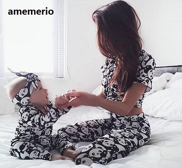 Family Matching Clothes Outfit Set 2019 Women Mother Daughter Son Baby Kids Panda Pajamas Sleepwear Pyjamas Cute Sweet Nightwear