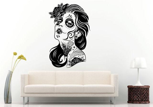 G suiker schedel meisje gezicht tattoo muur kamer decal vinyl