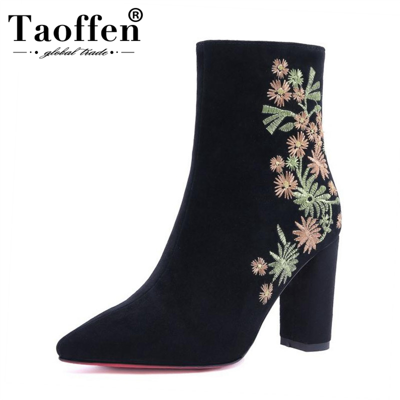 TAOFFEN Women High Heel Boots Winter Ankle Pointed Toe Sexy Ladies Shoes Woman Embroidery Flower Half Short Boots Size 32 41