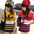 kids coat / 2015 the new spring  fashion girls tops  / baby striped long section hit color cotton long sleeve t -shirt