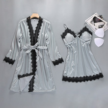 Female Robe Kimono Bathrobe Bride Bridesmaid Sexy Lace Trim 2PCS Robes Set Strap Robe Sleepwear Wedding