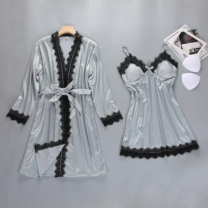018c11503 Robe feminino Roupão Quimono Noiva Da Dama de Honra Sexy Guarnição Do Laço  2 PCS Conjunto Correia   Robe Vestes Sleepwear Presente de Casamento de ...