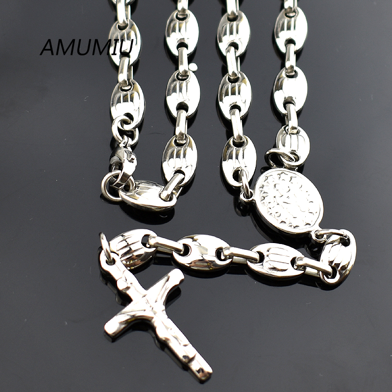 AMUMIU New arrivals, Fashion Stainless Steel Rosary Cross Necklace Bead Chain Men Jewelry, 55cm Long, Wholesale HZN088