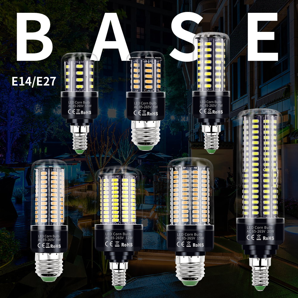 High Brightness 5736 E27 3.5W 5W 7W 9W 12W 15W 20W LED Corn Light Bulb E14 220V Chandeliers Lighting Constant Current No Flicker