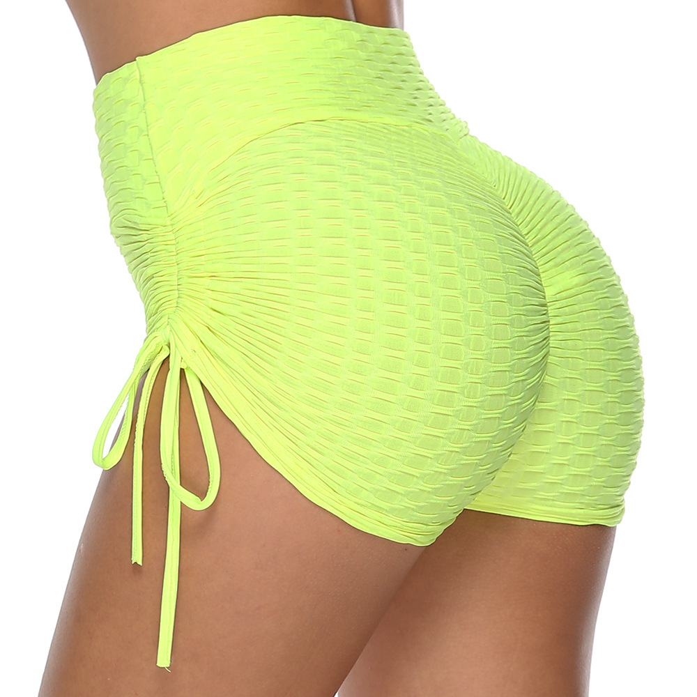 New 2019 High Waist Shorts Biker Push Up Women Shorts With Rope Summer Silk Slim Beach Casual