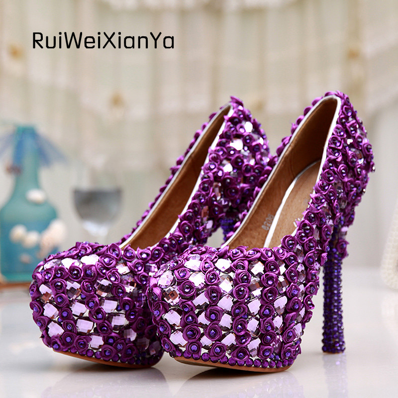 2017 New Fashion Spring Shoes Woman Pumps High Heels Luxury Purple Flowers Crystal Diamond Wedding Shoes for Bride Plus Size Hot 2017 new fashion spring ladies pointed toe shoes woman flats crystal diamond silver wedding shoes for bridal plus size hot sale