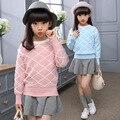 Menina Pullover Outono E Inverno das Crianças Vestuário Crianças Camisola Em Torno Do Pescoço de Tricô Coreano Crianças Roupas 2 Cor