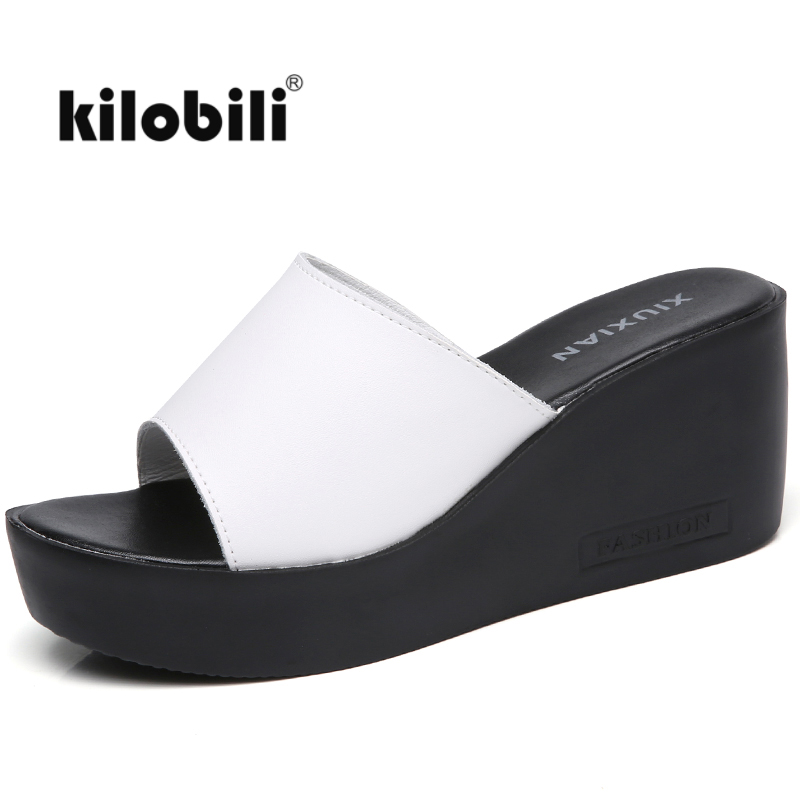 kilobili 2018 Summer Women leather Half Slippers sandals shoes wedge platform Slides Solid Black High Heels