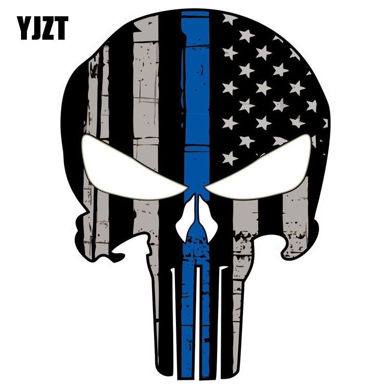 YJZT 10CMX13.8CM PUNISHER Skull American Flag Thin Blue Line Car Sticker Decal Decoration Accessories C1-6006