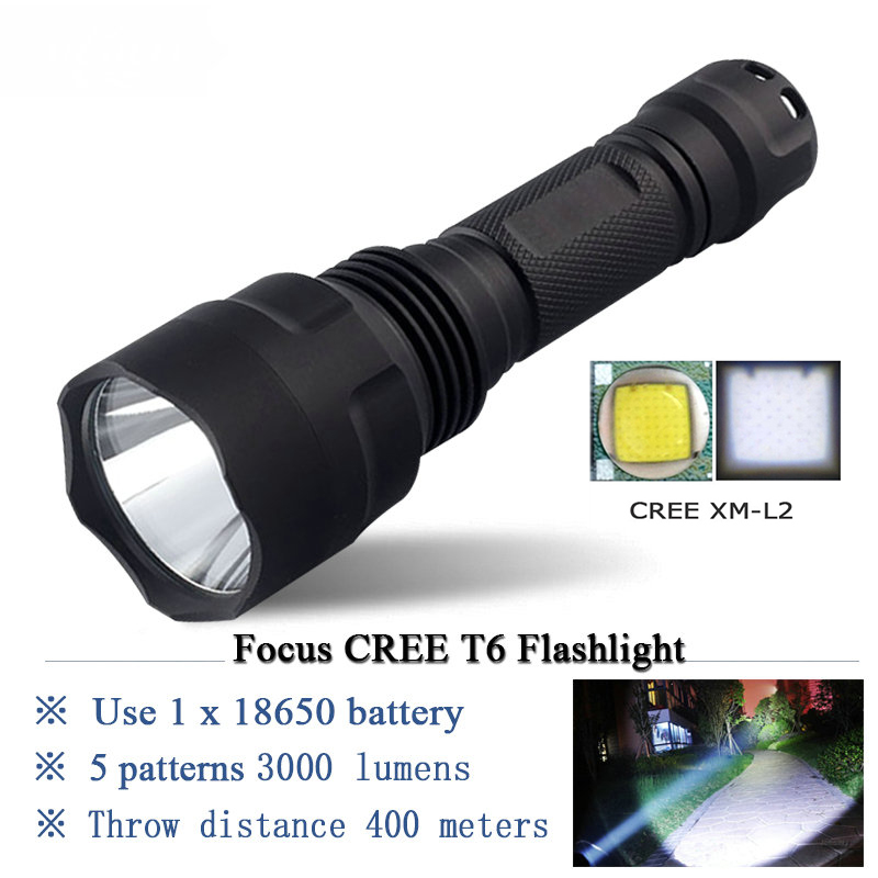 Led flashlight tactical zaklamp self defense flash light waterproof torch search lanterna for hunting 18650 Rechargeable Battery