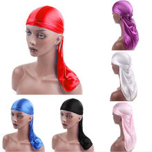 Новая мода мужские атласные дюраги Бандана тюрбан Парики мужские шелковистые дюраг головной убор головная повязка пиратская шляпа аксессуары для волос