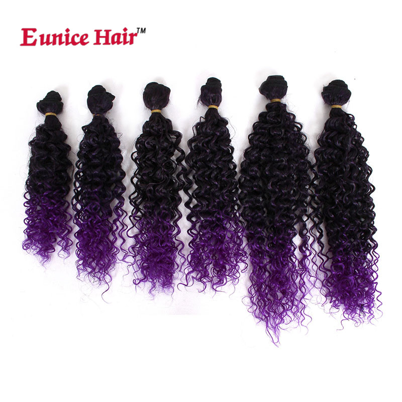 "Eunice Hair Kinky Curly Hair weaving 14""16""18""inch Natural Color Bundles soft Ombre purple/burgundy/brown weft 6 pieces/lot"