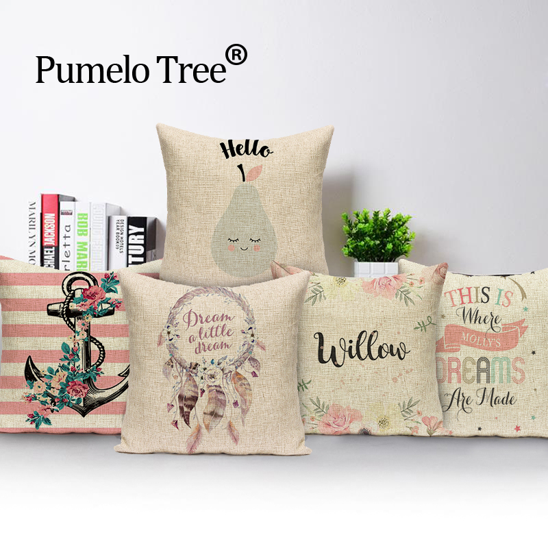 2017 Christmas pillow caseChristmas subtitles elk cotton linen throw 45*45 pillow wholes ...