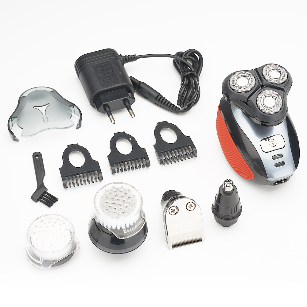 5 in 1 Mutifunctional Tripple  Electronic Washable IP7X &Rechargeable Shaver with Facial Cleaner&Nose Trimmer,Clippers