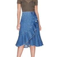 Autumn skirts womens 2019 casual blue denim skirt ruffles long skirt high waist skirt asymmetrical womens clothing