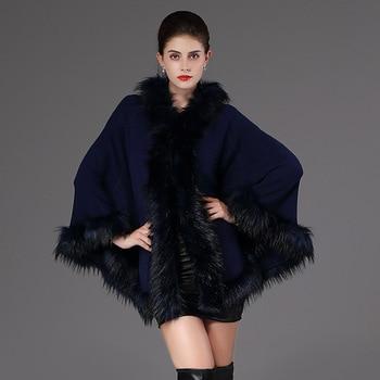 2018 Autumn Winter Women's knit Cape Shawl Coat Hooded Top Faux raccoon fur edge Cardigan Cloak Loose Female Sweaters OKXGNZ2057 4
