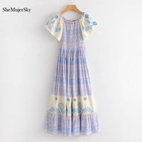 SheMujerSky Cold Shoulder Dress Women Long Bohemian Dress White Dresses Blue Floral Bodycon 2018 Off Shoulder