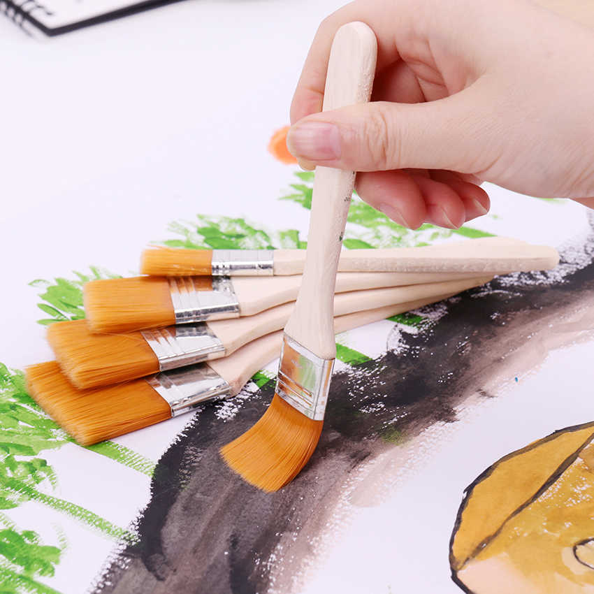 1-6# Styles Wooden Oil Painting Brushes Artist Watercolor Paint Brush Different Size Nylon Hair Painting Brush Set Art Supplies