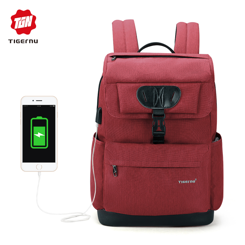 2018 Tigernu New Arrival Laptop Backpack 15.6 inch USB Charge Backpack for men & women Business Casual School Bag Mochila voyjoy t 530 travel bag backpack men high capacity 15 inch laptop notebook mochila waterproof for school teenagers students