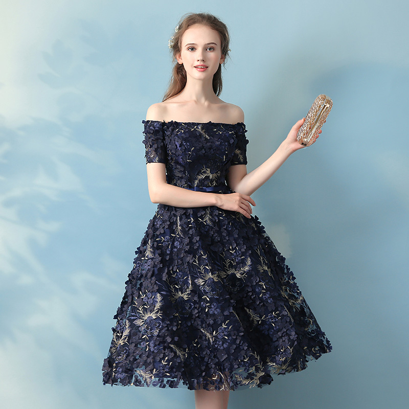 SSYFashion New Elegant Banquet Lace Flower Eveing Dress Boat Neck Navy Blue  Appliques Short Formal Party Gown Robe De Soiree-in Evening Dresses from ... c3a551d79f76