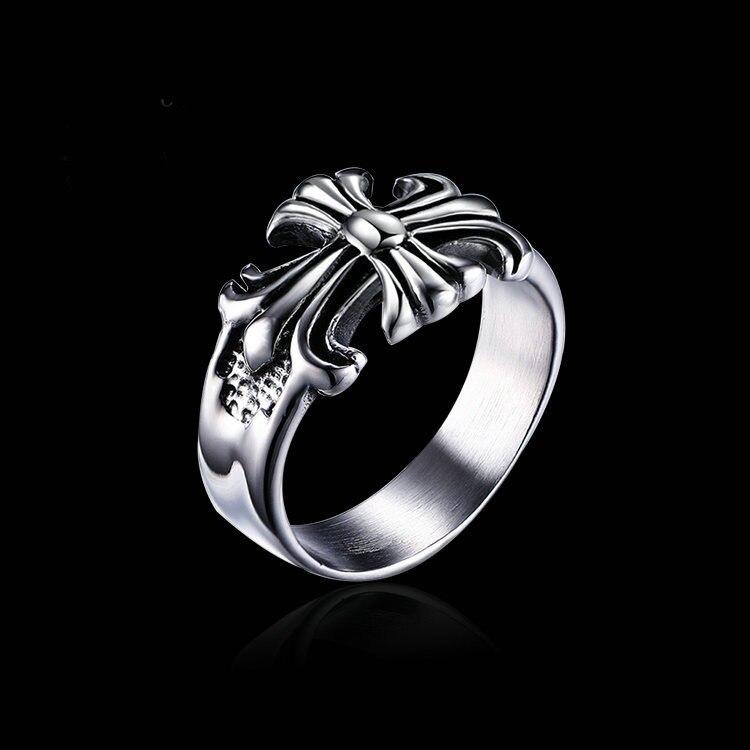 Sleek minimalist classic design letter cross ring Vintage mens current index finger ring