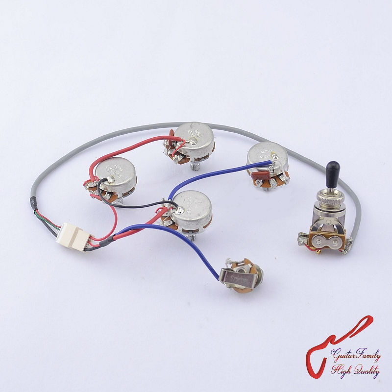 1 Set GuitarFamily Guitar Wiring Harness For SG LP Dot ( 1 Toggle Switch + 4 Pots + Jack ) ( #0582 ) MADE IN KOREA