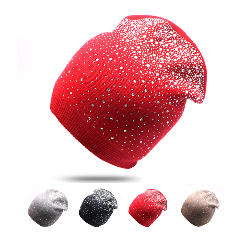 Winter Autumn   Beanie   Hats Women Girl Soft Knitting Casual   Skullies     Beanies   Hat Female Fashion Flashing Rhinestone Bonnet Hat Cap
