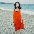 Frete grátis/alta qualidade mulheres verão/vestido sem mangas/v-neck/espaguete/fashion designer mid-Vestido bezerro/lyq099
