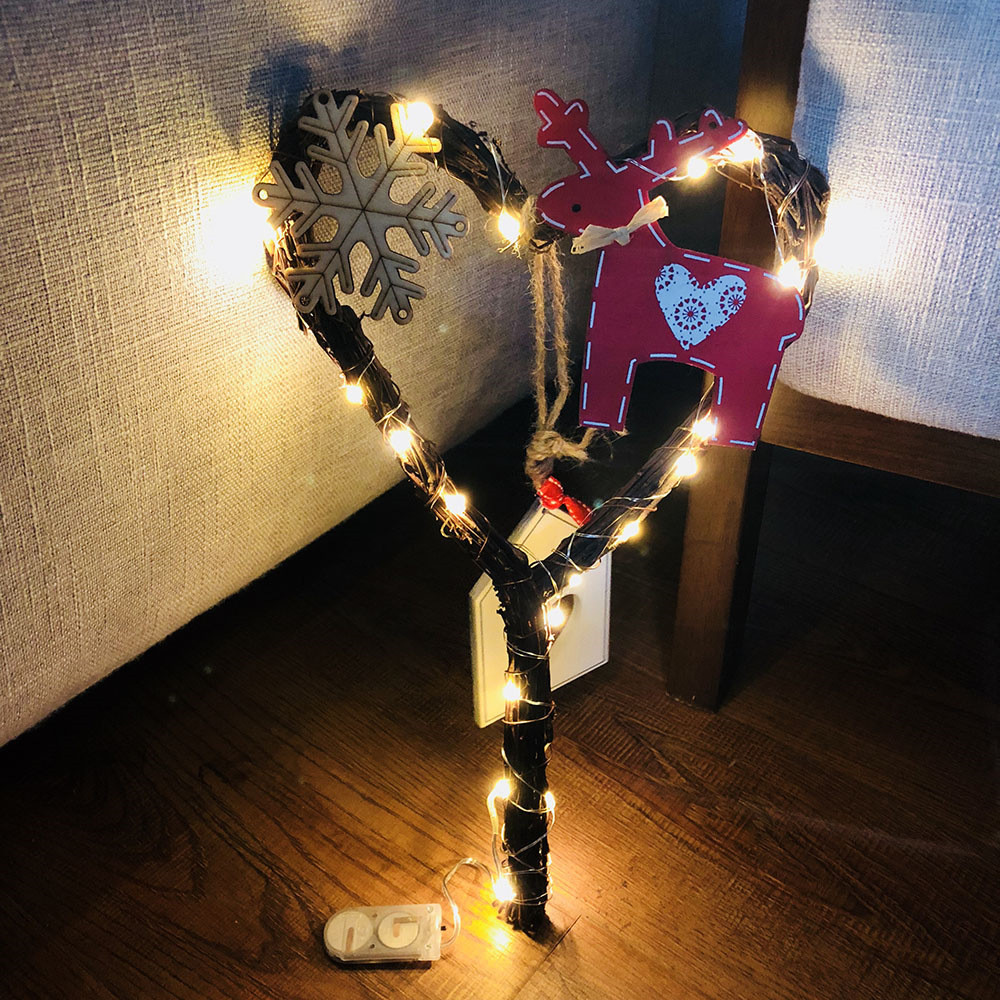 Guirlande Lumineuse Diamant Diy Rattan Wreath String Lights Lamp Guirlande Lumineuse Boule Christmas Door Wall Decor With 20 Led Beads Lights String