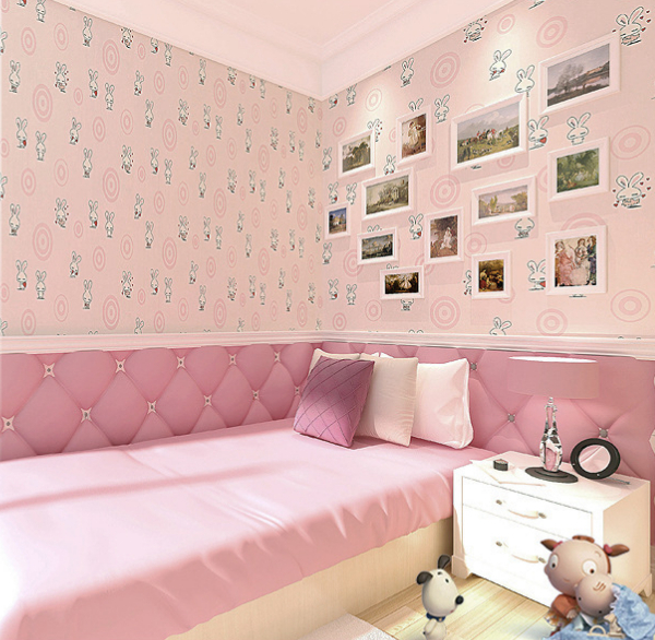 Non Woven Wallpaper Circle Cute Pink Bunny Child Boy Cartoon Childrens Room Bedroom