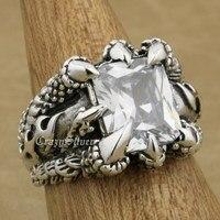 Huge 925 Sterling Silver Dragon Claw White CZ Stone Mens Biker Rocker Punk Ring 8T302 US Size 7.5~14