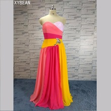 Gratis frakt ! Billigt pris ! 2015 Nya Sweetheart Crystal Long Dress Chiffon Aftonklänningar WLF1164