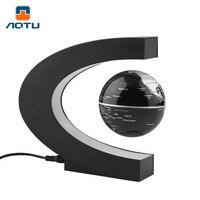 EU Plug C Shape LED Tellurion Magnetic Levitation Globe World Map Floating Antigravity Globe Home Decoration