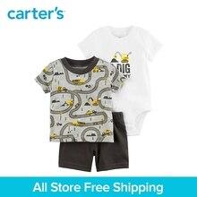Carter's 3-Piece baby children kids clothing Boy Summer construction print slogan Little Short Set 121I391