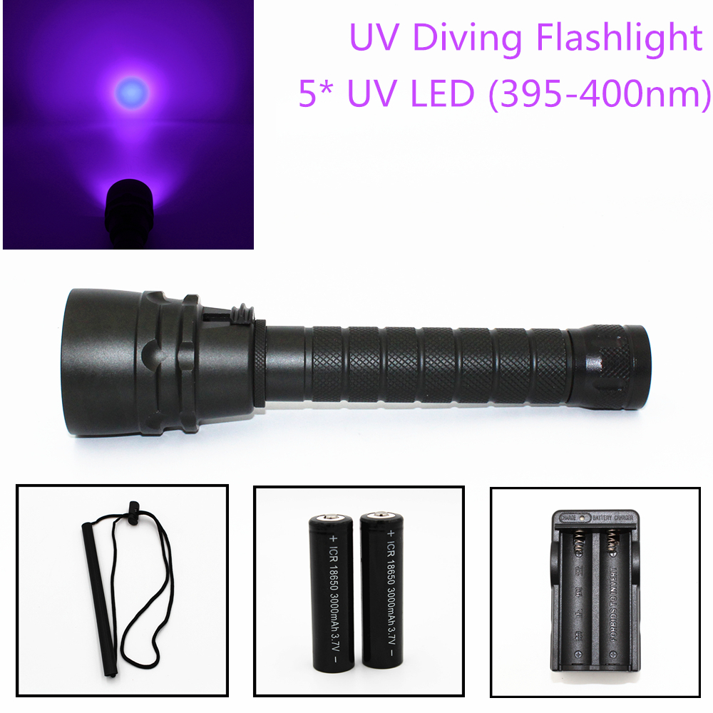 25W Ultraviolet Lantern 5000LM 5 x UV LED Purple Light Underwater 100M Diving Flashlight Aluminum Torch