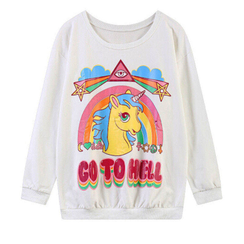 New Autumn Unicorn Pattern Printing Round Neck Women Men Lover Sweatshirt Jumper Pullover Tops Coat