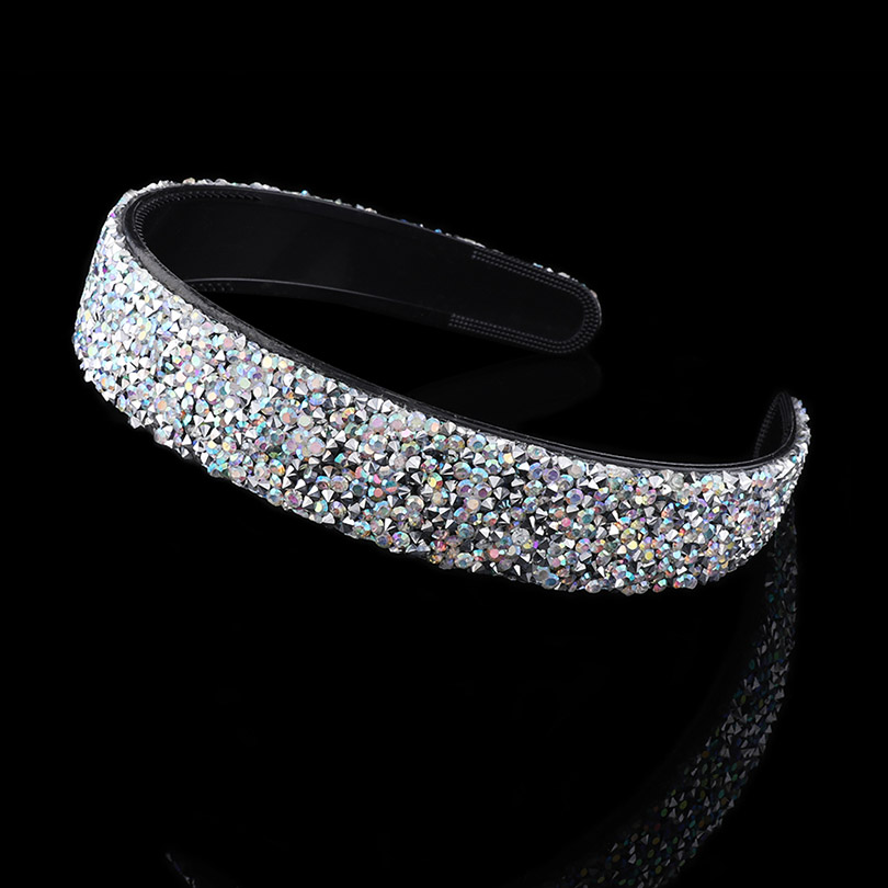 Haimeikang 2019 New Luxury Shiny Rhinestone Hairband For Women Girls Hair Accessories Wide Hair Hoop Band Headband 4 Color