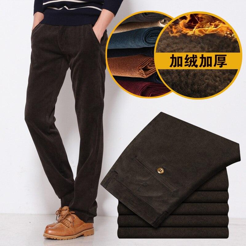 New Winter 2018 Mens Fashion Boutique Pure Color Fleece Warm Slim Leisure Business Pants / Male Cotton Corduroy Casual Trousers