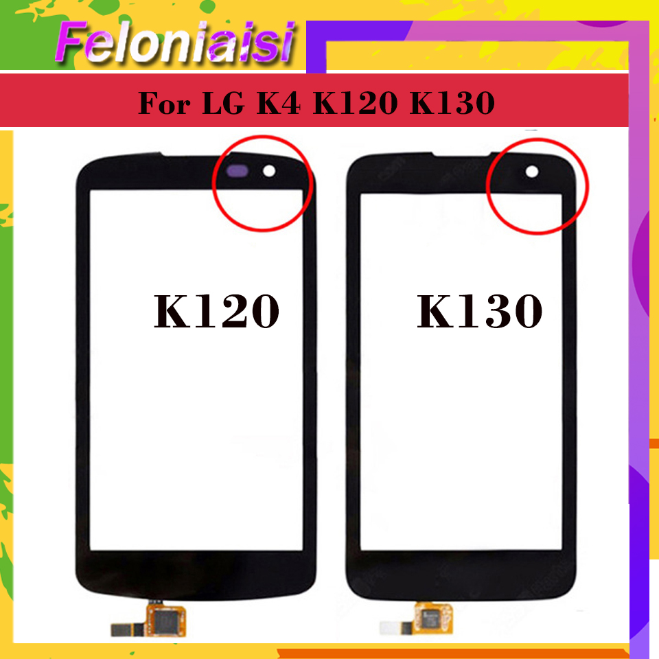 10Pcs lot For LG K4 K120 K121 K120E K130 K130E Touch Screen Touch Panel Sensor Digitizer Front Glass Outer Lens Touchscreen in Mobile Phone Touch Panel from Cellphones Telecommunications