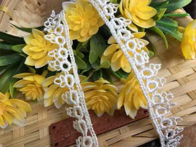 تنورة زهور قابلة للذوبان في الماء أبيض/أزرق مع زخارف دانتيل بعرض حوالي 1.5 سنتيمتر