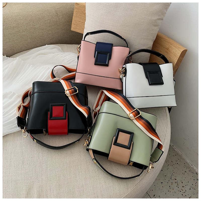 Patchwork Women Shoulder Leather Bag Crossbody Messenger Bags For Women Fashion Tote Ladies Bag Simple Handbag bolsa feminina in Shoulder Bags from Luggage Bags