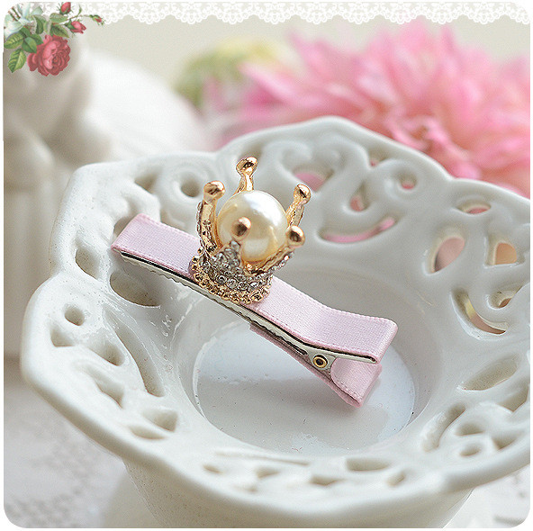 Pearl Girls Hair Clip Golden Crown CZ Sparkling decoration Baby Hairpin Hair Accessories Kids Children Headwear kk1201 han edition hair pearl four petals small clip hairpin edge clip a word free home delivery