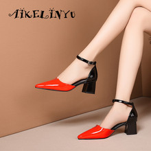 AIKELINYU Summer Handmade Genuine Leather 2019 New Sexy Lady Mixed Colors Sandals Square Heel Buckle Strap Classics Shoes Woman цена 2017